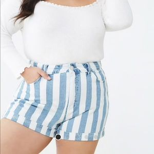 Plus denim striped shorts